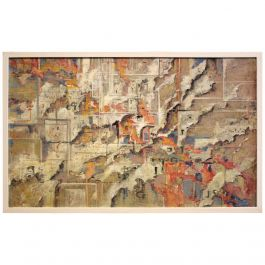 20th Century Italian Acrylic Abstract Urban Expressionist Painting on Canvas