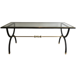 NEOCLASSICAL BLACK STEEL AND BRASS COFFEE TABLE
