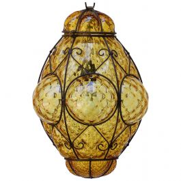 Seguso Murano Pendant Light Italian Vintage Handblown Amber Bubble Glass