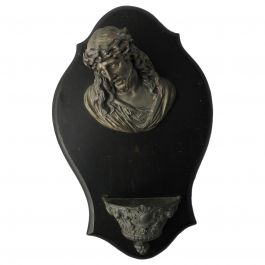 French Holy Water Font 19th Century Head of Christ Sculpture