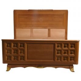 French Art Deco Double Bed in Solid Oak and Brass, 1940s