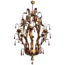 Italian Midcentury Gilt Florentine Chandelier with Red Murano Glass Drops, 1970s