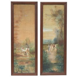 Pair of Antique Oil Paintings French Pastoral Scenes c1900