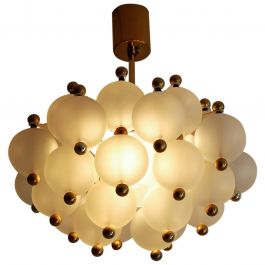 Midcentury Frosted Glass and Brass Chandelier from Kinkeldey, 1970s