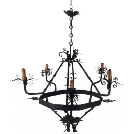 WROUGHT IRON CHANDELIER WITH 5 LIGHTS. FRENCH
