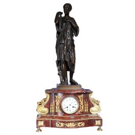 French 19th Century Bronze and Rouge Marble Mantle Clock