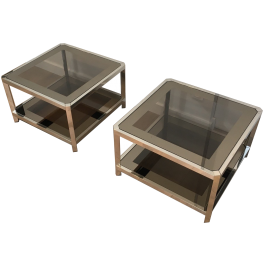 PAIR OF CHROMED SIDE TABLES WITH SMOKED GLASS