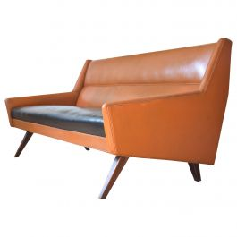 Torsten Johanson Danish Retro Leather Sofa, 1960s