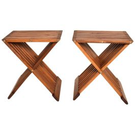 Mid-Century Modern Pair of Teak Folding Side Tables