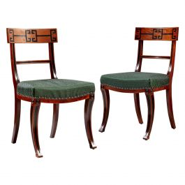 Pair of Late 19th Century Thomas Hope Revival Side Chairs with Green Seats