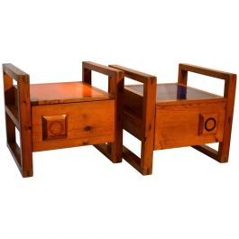 Pair of 1950s French Bedside Tables with Orange and Blue Tops
