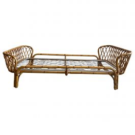 Mid-Century Modern French Bamboo Single Bed with Bed Net, 1960s