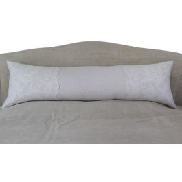 Bolsters - Antique embroidered scalopped tulle on linen bolster by Charlotte Casadéjus