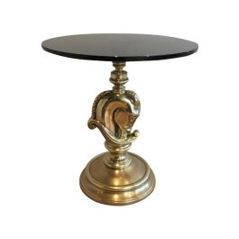 1960s Horsehead Round Brass Occasional Table Attributed to Maison Charles