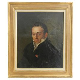 UnknownEarly 19th Century Portrait Painting of a Gentleman French Oil on Canvasc1830-50