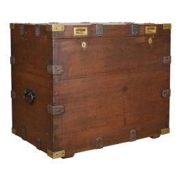 Antique Campaign Silver Chest, English, Oak, Victorian Trunk, Heavy Circa 1852-5