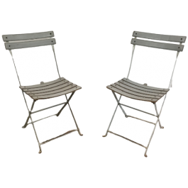 PAIR OF GREY LEATHER & WHITE LACQUERED METAL CHAIR
