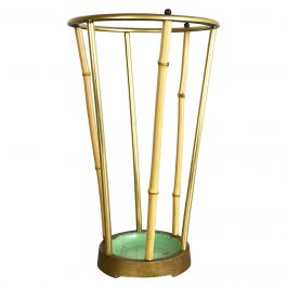 Midcentury Metal Brass and Bamboo Aubock Style Umbrella Stand, Germany, 1950s