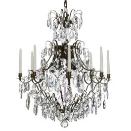Baroque Crystal Chandelier: Dark brass 8 arm with almond crystals