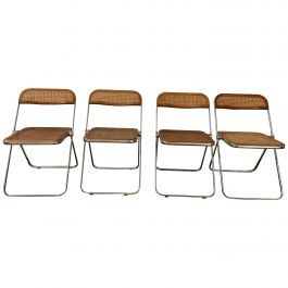 Mid-Century Modern Italian 4 Giancarlo Piretti Wood and Cane 'Plia' Chairs 1970s