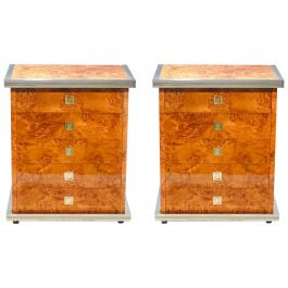 Italian Pair of Willy Rizzo Burl Brass and Chrome Chests of Drawers, 1970s