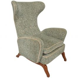 Midcentury Italian Modern Wingback Armchair in the Manner of Carlo Molino