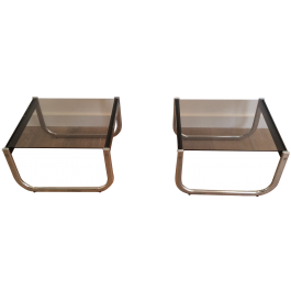 Pair Chrome, Black Wood And Glass Side Tables