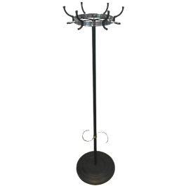 JACQUES ADNET BLACK LACQUERED & CHROME COAT RACK