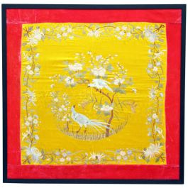 A 19th Century Chinese Embroidery White on Yellow with Pink Velvet Surround