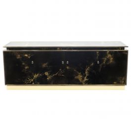 Rare Golden Lacquer and Brass Maison Jansen Sideboard 1970s