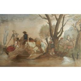 UnknownFrench 19th century Watercolor Villagers at waters edge manner Jules Hereauc1870