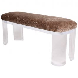 Mid Century Modern Lucite Bench Thick Legs In the Style of Karl Springer
