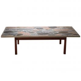 Large Stones and Brass Coffee Table by Torbjørn Afdal, 1960s