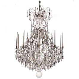 Baroque Crystal Chandelier: Nickel plated 10 arm with almond crystals