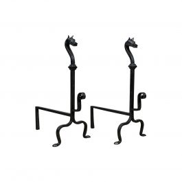 Pair of Large Wrought Iron Firedogs French Andirons Forged Art Deco 20th Century