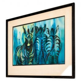Dynamic Blue Abstract Zebra Watercolor Gouache Painting, Signed