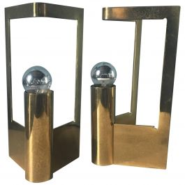 Italian Pair of Solid Brass Table Lamps from 1960s