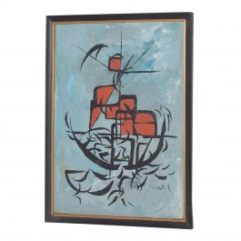 Modern Abstract Art Midcentury Boat Oil Painting, 1960s