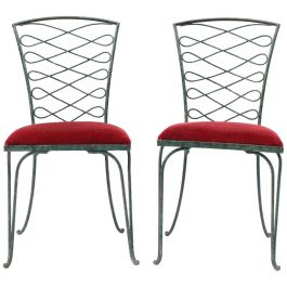Verdigris Iron Scroll-Back Chairs by René Prou