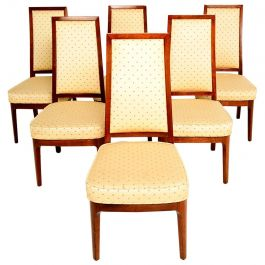 Set of Six Mid-Century Modern Solid Walnut Chairs