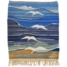 Mid-Century Modern Handwoven Scandinavian Wall Tapestry in Earth Colors