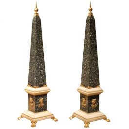 18th Century Pair Of Obelisks With Ormolu