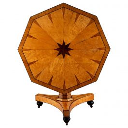 Early 19th Century French Bird's-Eye Maple Octagonal Tilt-Top Centre Table