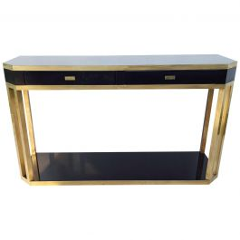 French Black and Brass Console Table by Jean Claude Mahey, 1970s
