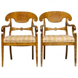 Biedermeier Carver Chairs Late 1800s Swedish Antique Quilted Golden Birch