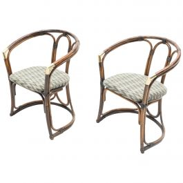 Mid-Century Modern French Riviera Bamboo and Brass Armchairs, 1960s