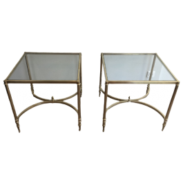 LARGE PAIR OF NEOCLASSICAL ST BRASS SIDE TABLES