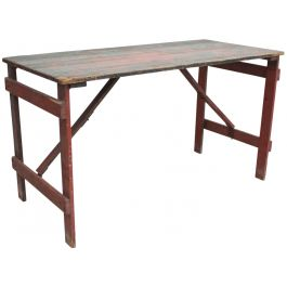 A 1930's Trestle Table with Original Paint Red Green