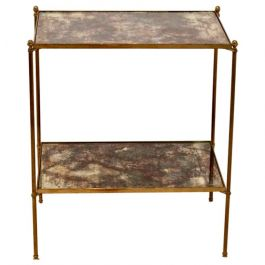 Two-Tier Maison Charles Brass Side Table in Bronze Oxided Glass