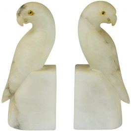 Pair of French Art Deco White Alabaster Parakeets
